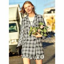 Amii Minimalist Tweed Two Pieces Set Autumn Office Lady Loose Lapel Blazer MIni  image 3