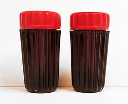 Black Glass  Salt Pepper Shakers Mini Red Bakelite Lids - $19.99