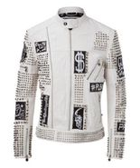 Handmade Men's White Studded Embroidered Leather jacket - $249.99