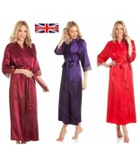 Ladies Womens Long Satin Gown Lace Detail Dressing Robe Wrap Size UK 10-... - $29.25
