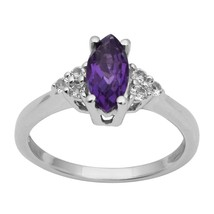 Shine Jewel Marquise Amethyst White Topaz 925 Silver Side Stone Purple Ring - $13.61