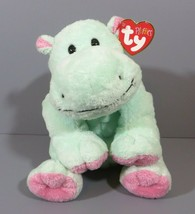 Ty Pluffies Tubby Hippo Pastel Green Pink Plush Plastic Eyes Lovey 2002 ... - $44.95
