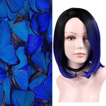 Quick Wig Ombre Wig Bob Wig Black to Blue Side Part Cosplay Wig 14 inch ... - $18.70
