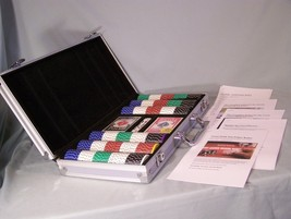 Aluminum Case, Poker Chips, New Playing Card Decks, Dice, Texas Hold'em ... - $18.00
