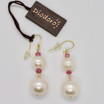 Boucles D'Oreilles en or Jaune 18K 750 Perles D'Eau Douce Tourmalines Rose Italy image 3