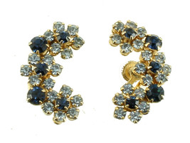 VINTAGE JUDY LEE DARK & LIGHT BLUE RHINESTONE FLOWERS SCREW BACK EARRINGS - $53.99