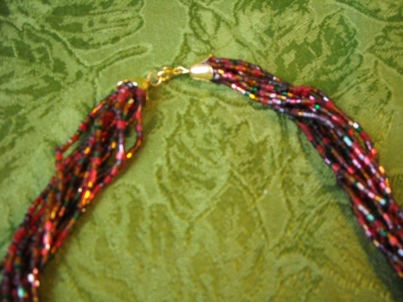 Vintage Necklace Red, Green, Orange Glass Tube Seed Bead Knot Multistrand Twist image 3