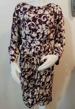 Vtg 80s Jonathan Martin Dress Sz 8 Blouson Faux Wrap Purple Floral Long ... - $30.67