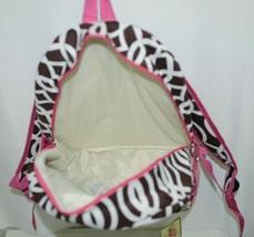NGIL BIQ403BR Brown White Pink Canvas Backpack Geometric Design image 2