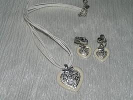 Estate DEMI White Multistrand Cord w Enamel & SIlvertone HEART Pendant N... - $9.49