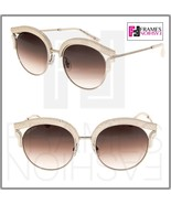 JIMMY CHOO LASH Silver Taupe Leather Glitter Stud Metal Cat Eye Sunglasses - $287.10
