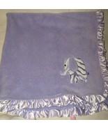 Babykiss Purple Baby Kiss Blanket Zebra Stripe Elephant Satin Ruffle Lovey  - $24.73