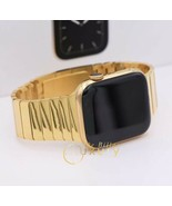 CUSTOM 18k Gold Plated 44MM Apple Watch SERIES 6 DIAMOND POLISHED Band B... - $1,614.05