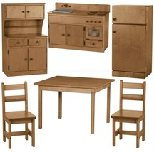 6pc WOOD KITCHEN PLAY SET Preschool Toy Furniture MADE IN USA, NATURAL - $1,374.91