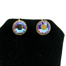 Vtg Mid-Century Gold Tone Screw Back Earrings Aurora Borealis Rhinestone... - $23.80