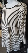 Ann Taylor Size M Medium Cocoon Style Black And White Striped Top Cotton... - $16.10