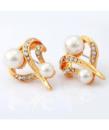 Fashion Women Earrings 18K Real Gold Plated Pearl Beads - $25.39