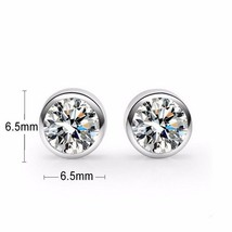 925 Sterling Silver earring CZ Cubic Zirconia clear crystal DLE68 - $10.99