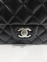 SALE Authentic Chanel BLACK QUILTED LAMBSKIN MEDIUM CLASSIC DOUBLE FLAP BAG SHW image 9