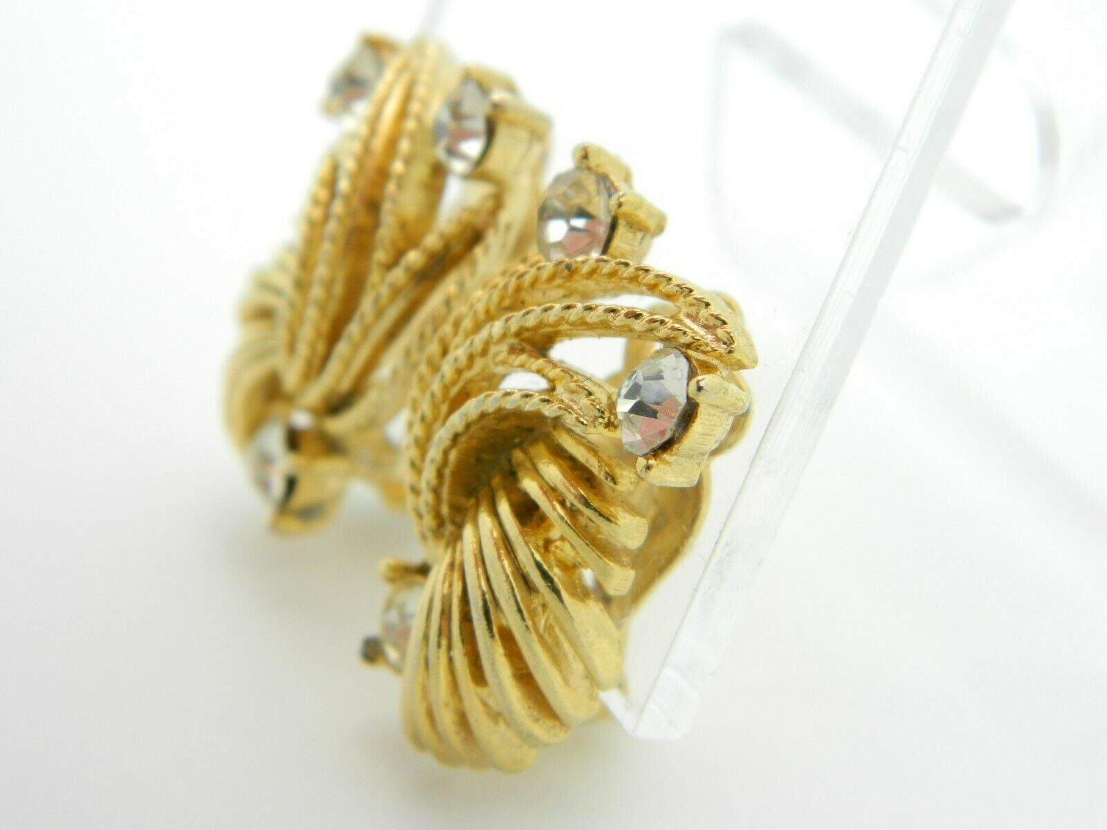Lisner Clear Rhinestone Textured Gold Tone Abstract Vintage Earrings