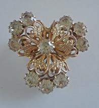 Vintage Clear Rhinestone Gold Tone Brooch - $7.60