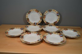 8 Oneida Westfield Large Rimmed Soup Bowls Fruit Porcelain Pretty - $24.69