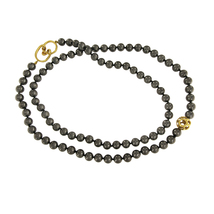 "Rare TIFFANY & CO. 18K Yellow Gold & 8mm Black Onyx Round Bead 32"" Necklace - $2,350.00"