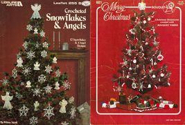 2x Vtg 12 Snowflakes 4 Angels & Merry Christmas Ornaments Crochet Knit Patterns - $13.99
