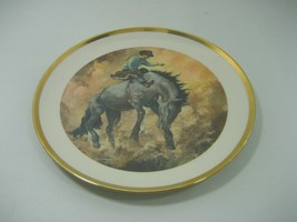 Vintage Limited Edition Bareback Bronc Rider Collector Plate No 3356 Gol... - $21.46