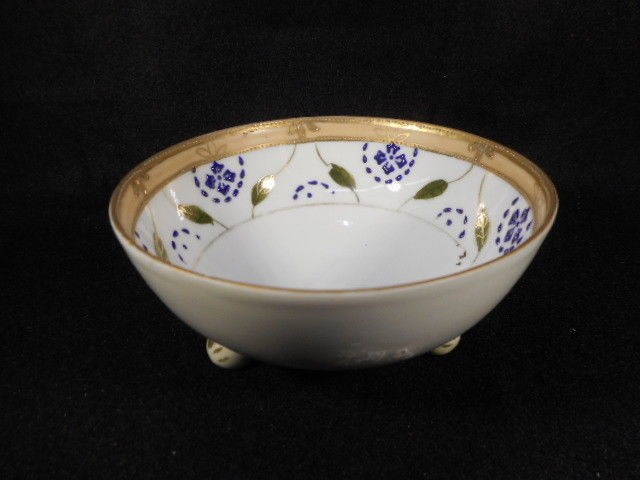 Vintage Hand Painted and Gold Detailed Footed Nippon Master Nut Dish