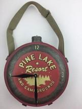 Vintage PINE LAKE RESORT Metal CANTEEN Clock Fishing Log  Cabin Lodge Ru... - $37.39