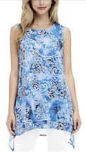 Fever Women's Double Layer Sleeveless Blouse (Blue Mosaic Glass, Medium) - $12.99