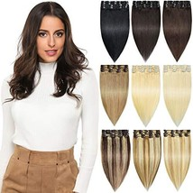 ROSEBUD Clip in Hair Extensions REMY Human Hair 8Pcs 18 Clips 65g/Set 14 Inch  - $49.46+