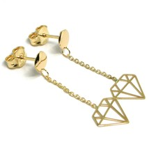 18K YELLOW GOLD PENDANT EARRINGS, OPENWORK FLAT DIAMONDS, BUTTERFLY CLOSURE image 2