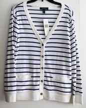 NWT Ralph Lauren Women`s Button Down Cardigan White Blue Stripes L Cotto... - $44.99