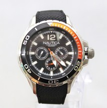 NEW Nautica N17612G Black Orange Accent Dial Chronograph Black Band Men Watch  - $120.76