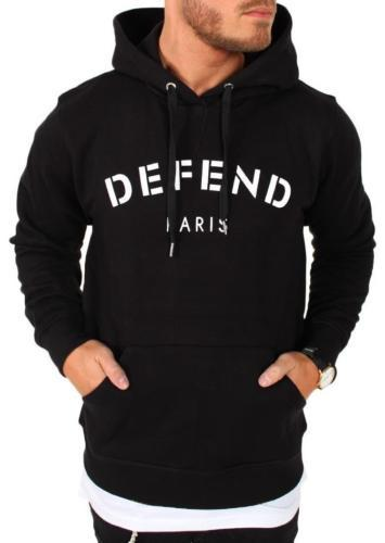 NEW DEFEND PARIS MEN'S PREMIUM LONG SLEEVE HOODIE SWEATSHIRT JACKET BLACK