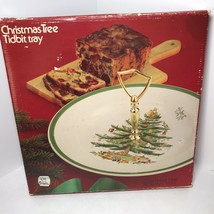 Vintage Spode Christmas Tree Serving Tidbit Cookie Cake Plate Tray Holid... - $28.99