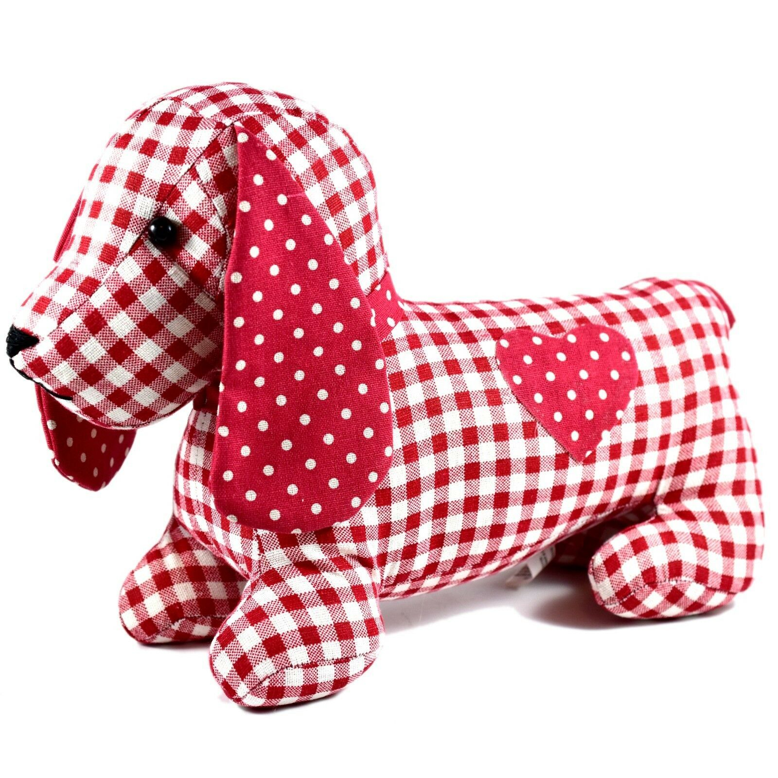 Delton Checkered Plaid Red Heart Dachshund Puppy Dog Love Door Stopper Doorstop