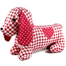 Delton Checkered Plaid Red Heart Dachshund Puppy Dog Love Door Stopper Doorstop image 1