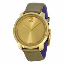 BRAND NEW MOVADO BOLD 3600312 GREEN LEATHER BAND GOLD CHRONO DIAL UNISEX... - $247.49