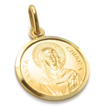 SOLID 18K YELLOW GOLD MEDAL, SAINT CHIARA CLARE CLAIRE OF ASSISI, 17 mm DIAMETER image 1