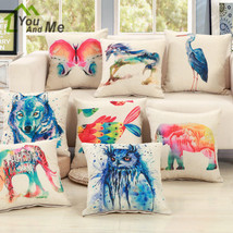 Colorful Flamingo Ink Painting Animals Pillowcase Car Seat Waist Cusion Cover - $3.99+