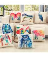 Colorful Flamingo Ink Painting Animals Pillowcase Car Seat Waist Cusion... - $3.99+