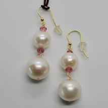 Ohrringe aus Gold Gelb 18K 750 Perlen Wasser Dolce Besatz Pink Made IN I... - $403.43
