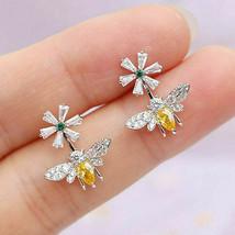 0.50Ct Pear Cut Citrine & Diamond BEE Stud Earrings 14K White Gold Over ... - $108.10