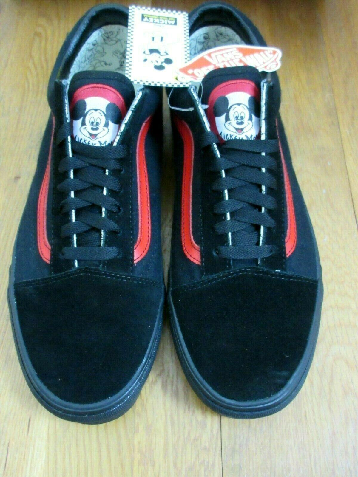 Vans X Disney Mens Old Skool Mickey Mouse Club Skate shoes Black Red Size 10.5