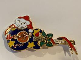 Hard Rock Cafe Pin Taipei Blue Guitar Yellow Stars Snowman XMas Christmas 1997 - $12.95
