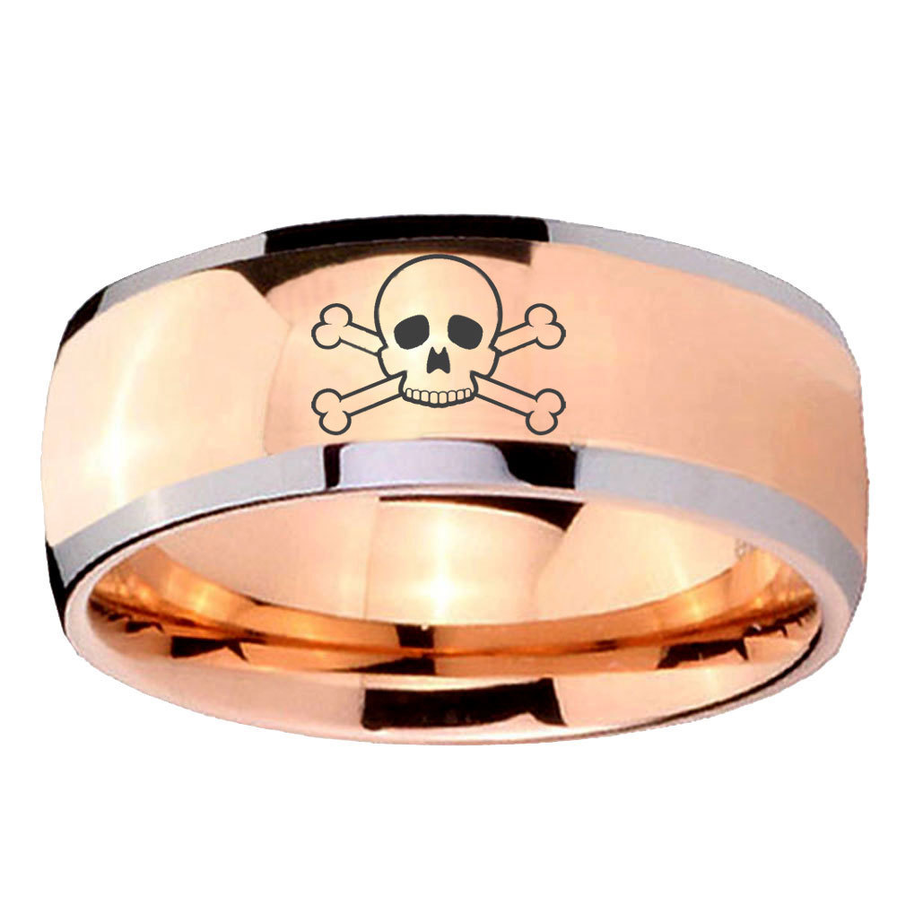 8mm Skull Dome Rose Gold Tungsten Carbide Mens Engagement Band - $39.99