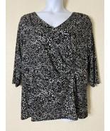 Lane Bryant Womens Plus Size 18/20 Black & White Pattern Blouse 3/4 Sleeve  - $19.80